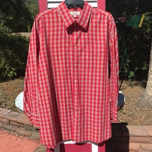 NEW Faconnable Long-Sleeved Red Plaid Cotton Shirt